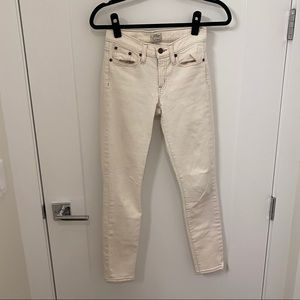 J. Crew Skinny Jeans Cropped Mid Rise Cream 24